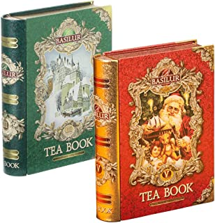 Basilur Tea Book Collection | Ceylon Tea Holiday Pack | Vol 3 and Vol 5 Teabooks | Green & Black Tea | Hostess Gift, Stocking Stuffers, Santa tea Collectable Metal Caddy | Pack o 2