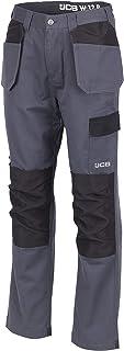 JCB - Mens Work Trousers - Cargo Trouser Men - Essential Plus Trousers for Men - D+AF - Grey/Black - Size 34