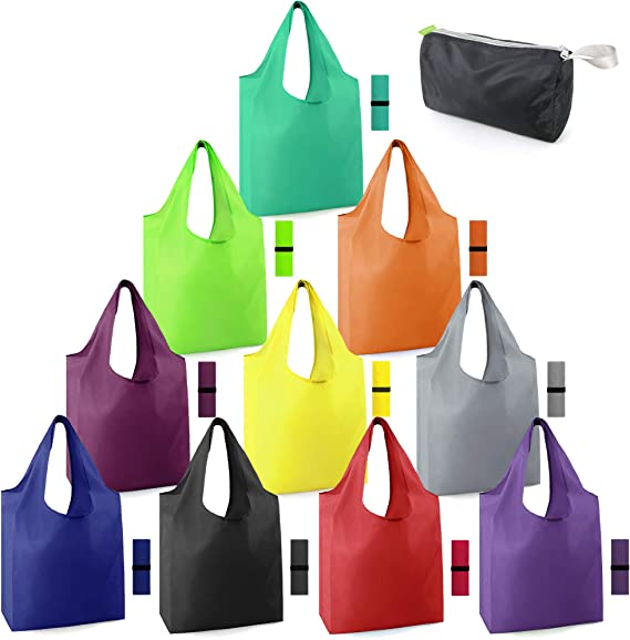Reusable-Grocery-Bags-Foldable-Machine-Washable-Reusable-Shopping-Bags-Bulk Colorful 10 Pack 50LBS Extra Large Folding Reusable Bags Totes w Zipper Storage Bag Sturdy Lightweight Polyester Fabric