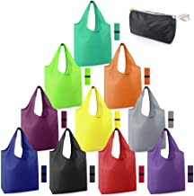 Reusable-Grocery-Bags-Foldable-Machine-Washable-Reusable-Shopping-Bags-Bulk Colorful 10 Pack 50LBS Extra Large Folding Reu...