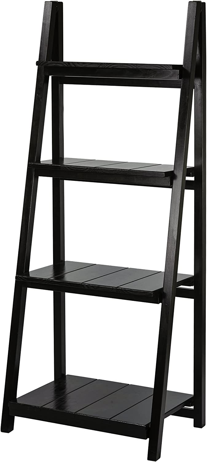 Casual Home 360-42 Leaning Bookcases, 4 Shelf, Black