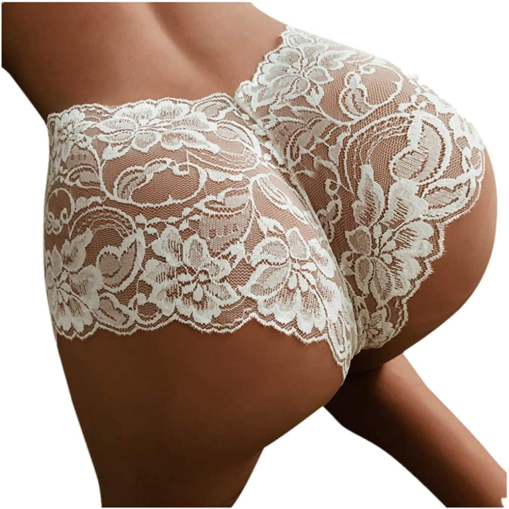 F_Gotal Clearance Sexy Underwear for Women Lace Flowers Panties High Waist G-String Thongs Knickers Briefs