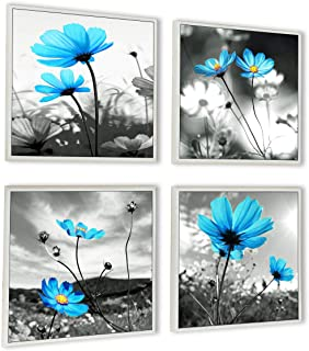 HLJ ART Modern Salon Theme Black and White Peacock Blue Vase Flower Abstract Painting Still Life Canvas Wall Art for Home Decor 12x12inches 4pcs/Set (Outer Frames, 12x12inchx4pcs)