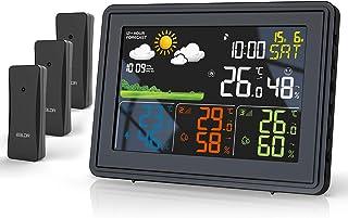 BALDR Stazione meteo con 3 sensori esterni con temperatura interna ed esterna, termometro con previsioni meteo e DCF (nero)