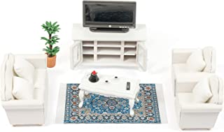 SAMCAMI Wooden Dollhouse Furniture Set - 1 12 Scale Miniature Dollhouse Living Room Set (16 Pieces), Couch, TV Cabinet, Co...