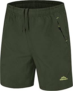 LASIUMIAT Men's Outdoor Quick Dry Sports Shorts Running Shorts with Zipper Pockets