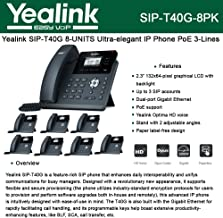 Yealink [8-Pack] T40G IP Phone, 3 Lines. 2.3-Inch Graphical LCD. Dual-Port Gigabit Ethernet, 802.3af PoE, Power Adapter Not Included (SIP-T40G-8)