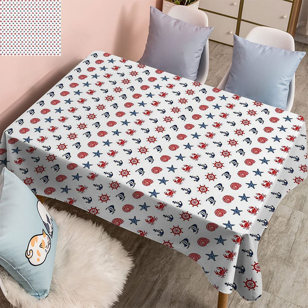 Houston Mall Aqua Marine Theme Spill-Proof with Collection Denver Mall Tablecloth Seashe