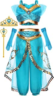 Cmiko Arabian Princess Costume for Girls Dress Up Birthday Halloween Party with Tiara and Wand