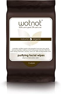 Wotnot Natural Organic Purifying Face Wipes for Oily and Sensitive Skin 25 Pack, 25 count Pack of 1