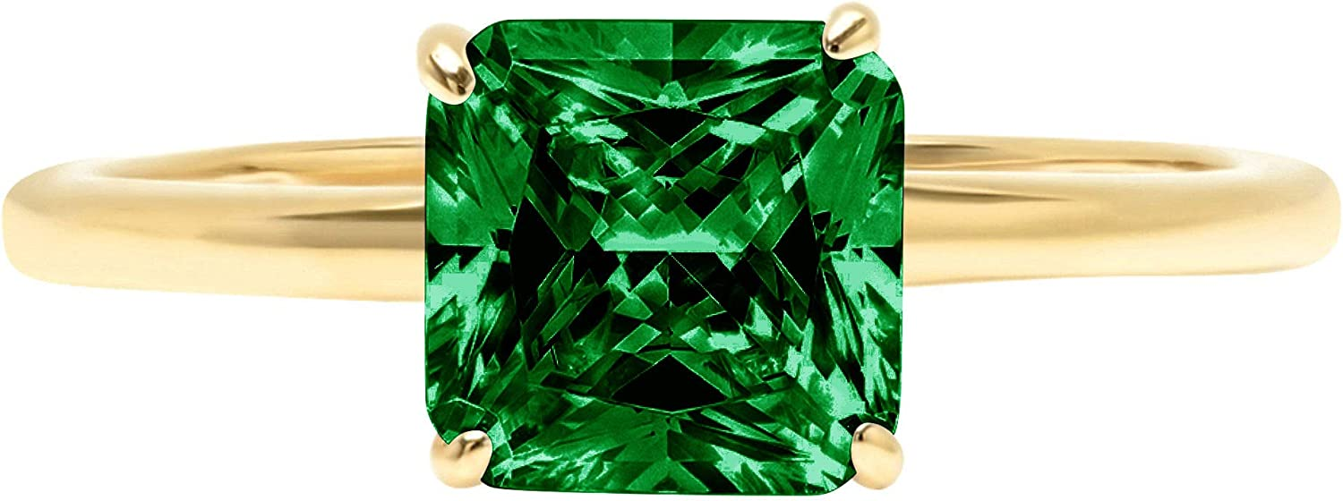 2.4ct Brilliant Asscher Cut Solitaire Flawless Simulated Cubic Zirconia Green Emerald Ideal VVS1 4-Prong Engagement Wedding Bridal Promise Anniversary Designer Ring Solid 14k Yellow Gold for Women