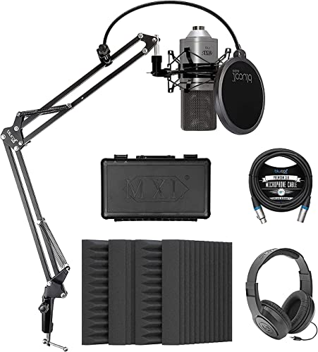 """discount MXL 770 Cardioid Condenser Microphone (Silver) Bundle new arrival with Blucoil 4-Pack of high quality 12"""" Acoustic Foam Isolation Panel Wedges, 10-FT Balanced XLR Cable, Boom Arm Plus Pop Filter, and Samson SR350 Headphones outlet sale"""