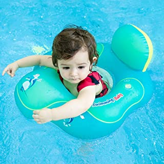 hantajanss Inflatable Baby Float with Backrest Inflatable Swim Floats Swimming Pool Toys for Bathtub and Pools 3-15 Months