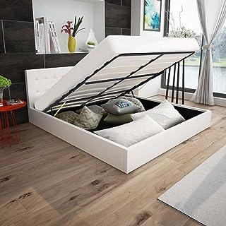 SENLUOWX Lit canapé hydraulique en Cuir synthétique Blanc 180x 200cm