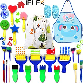 IELEK Painting Kits for Kids,Art Smocks Waterproof Craft Drawing Tools Set,Sponge Brushes Artist Painting Aprons with 2 Sl...