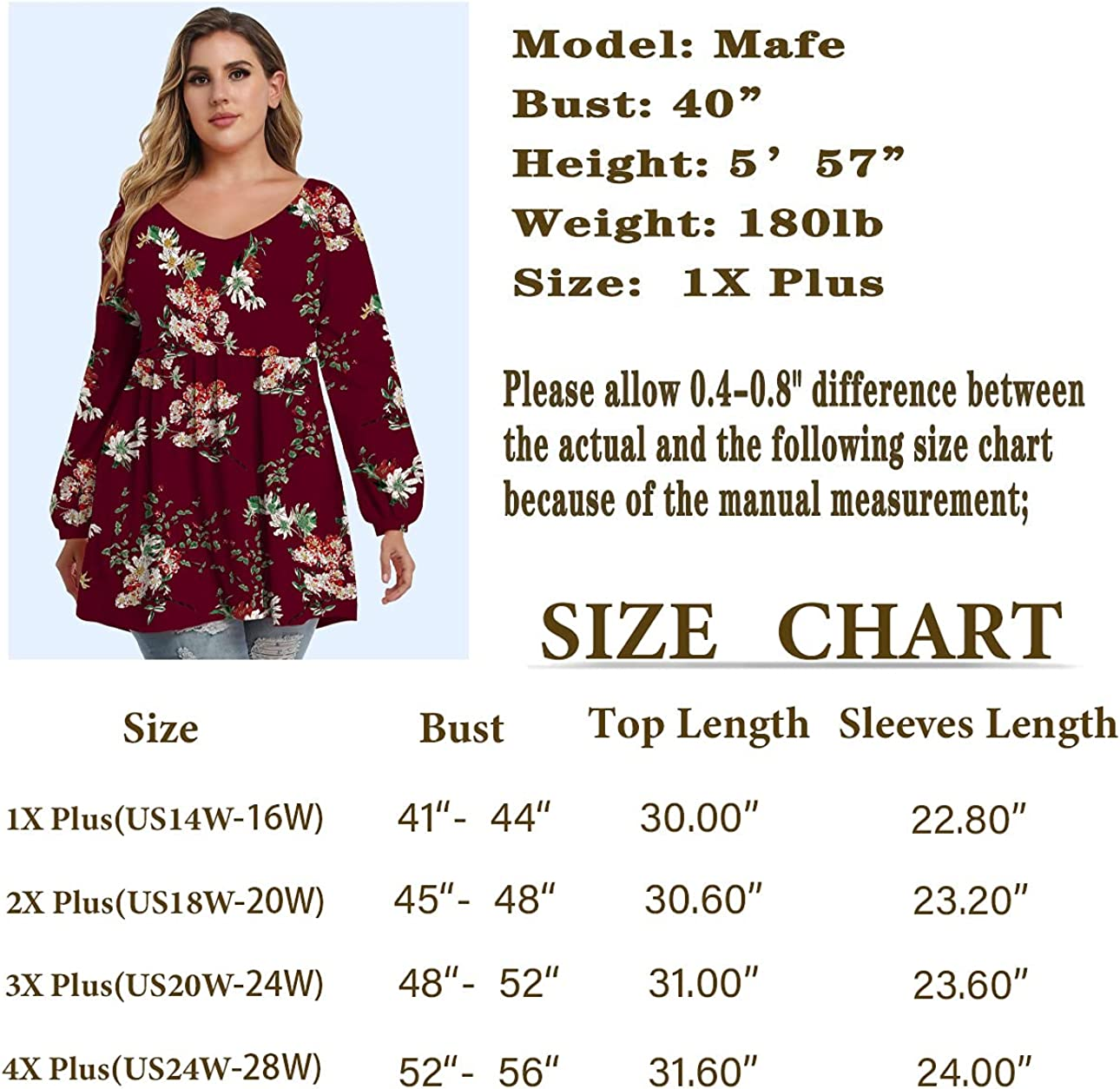 LINJOU Women's Plus Size Puff Long Sleeve Tunic Tops Elastic Pleated Shoulder Blouse Loose Fit V Neck Casual T Shirts at  Women's Clothing store