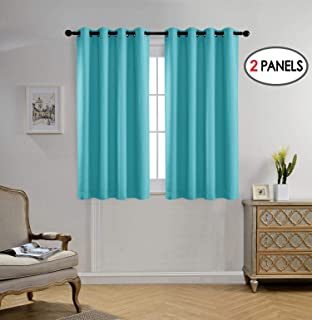 MIUCO Blackout Curtains Room Darkening Curtains Textured Grommet Window Curtains for Bedroom 2 Panels 52x63 Inch Long Turquoise