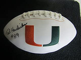 Ted Hendricks Miami Hurricanes autograph Signed White Panel Football JSA