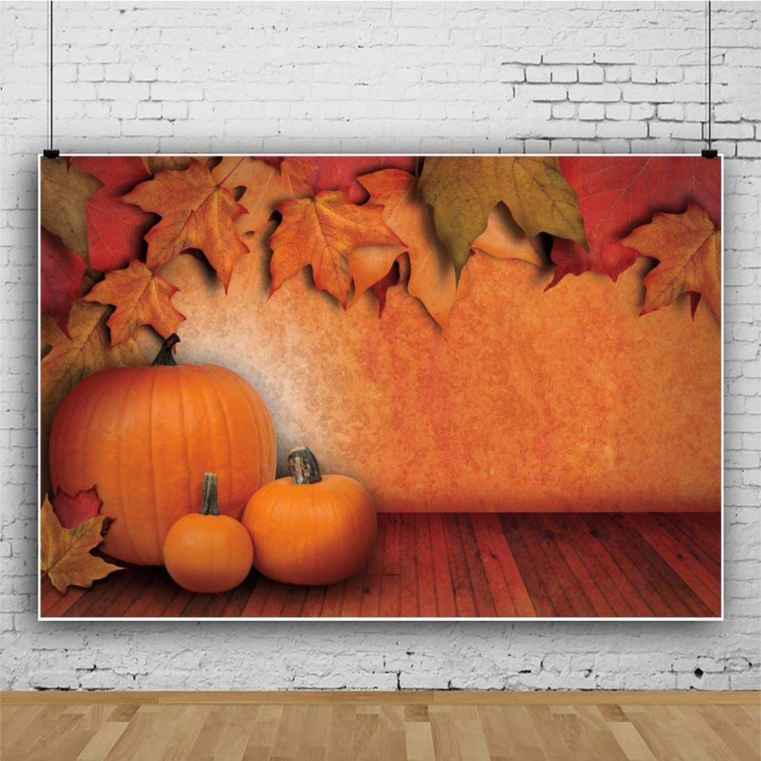 Leowefowa Thanksgiving Day Backdrop for Party Decor 12x10ft Rustic Wall Maple Leaves Pumpkins Wood Floor Vinyl Photography Background Child Adult Photo Shoot Harvest Festival Celebration Photo Booth