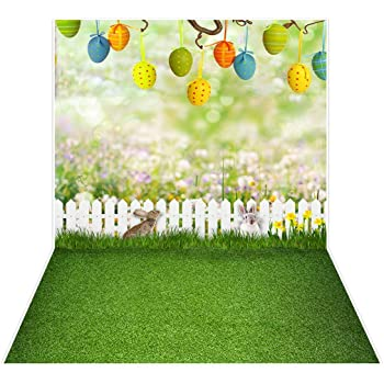 Spring Easter Photography Backdrops Grass Wooden Wall Baby Shower Background