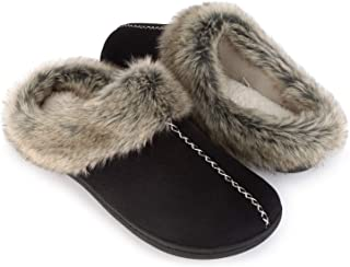 Men's Cozy Memory Foam Slippers with Warm Fleece Lining and Fuzzy Faux Fur Collar, Casual Micro Suede Slip on Clog Mule House Shoes with Indoor Outdoor Anti-Skid Hard Rubber Sole