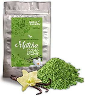 Vanilla Matcha Green Tea Powder, Organic Japanese Premium Grade, 100% Vegan, Packed with Nutrients and Antioxidants, Boosts Your Metabolism And Tastes Great, [85g, 3oz, 42 Servings]