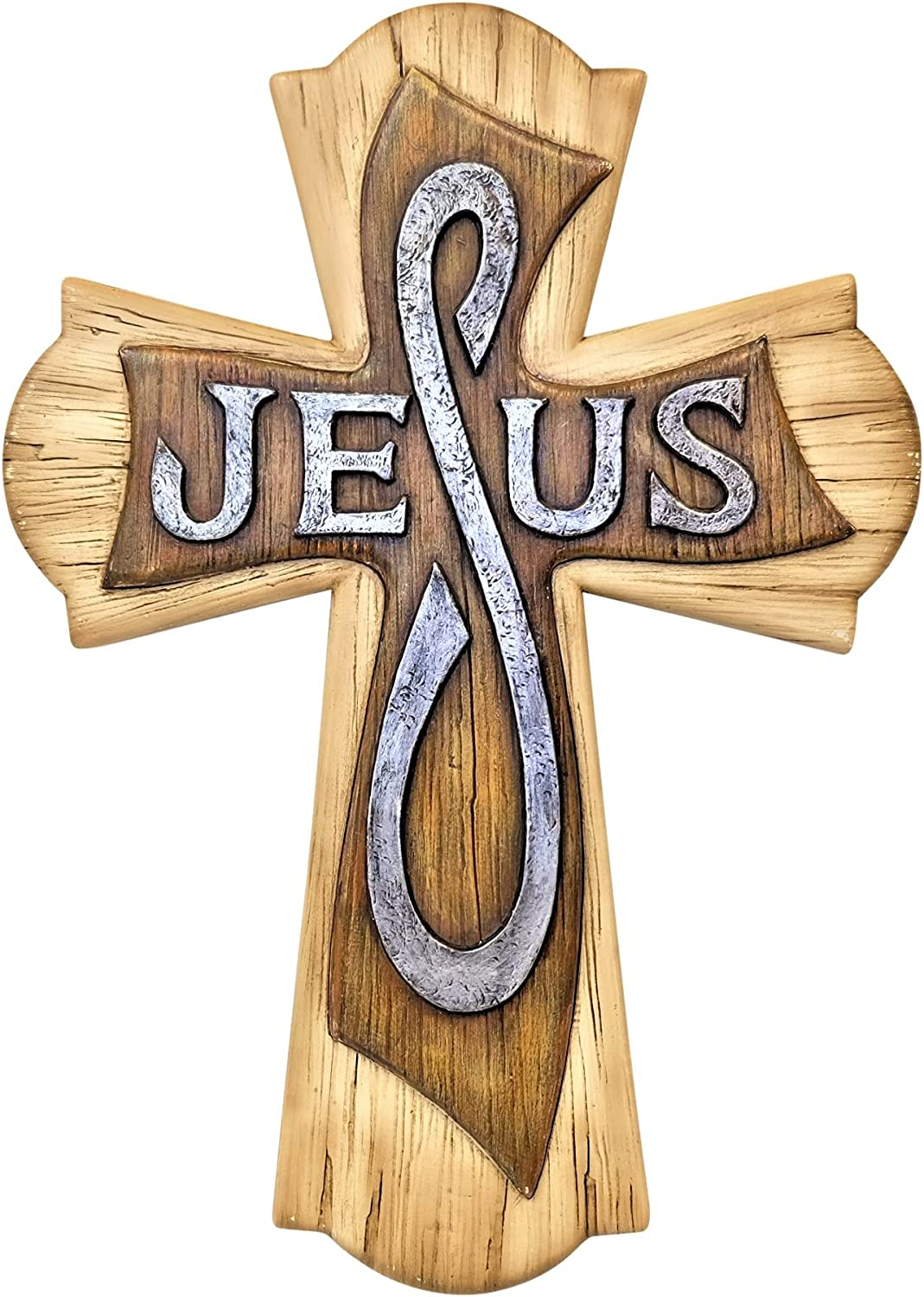 Decorative Faux Wood Look Wall Challenge the lowest price of Japan ☆ Cross Large-scale sale Sc Jesus Art Spiritual