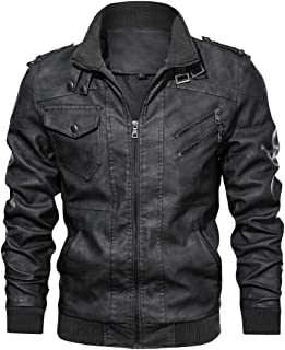 Men's Fashion Zipper Bomber Jacket Leather Motorcycle Punk Slim Fit Coat Stand Collar PU Outerwear