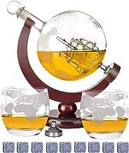 DUTISON Whisky Karaffe Globus Alkohol - Dekanter Bar Set mit Gläser Holzständer Weltkarte Geschenke für Männer Frauen Glas...