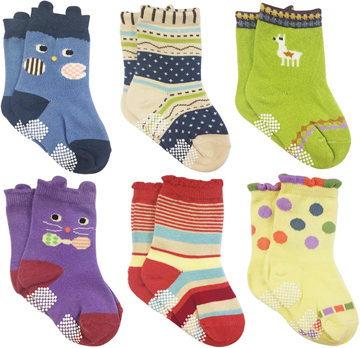 Wrapables Peek A Boo Animal Non-Skid Toddler Socks (Set of 6), L