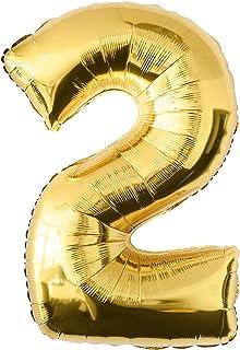 comprar comparacion Globo de lámina 2 dorado Número enorme 100 cm rellenable con helio o aero fiesta de cumpleaños