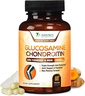 Glucosamine with Chondroitin Turmeric MSM, Triple Strength 1500mg, for Hip, Joint & Back Pain Relief - Made in USA - Anti Inflammatory Supplement with Boswellia & Bromelain. Non GMO - 60 Capsules