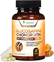 Glucosamine with Chondroitin Turmeric MSM Supplement, Triple Strength Standardized 1500mg with Boswellia & Bromelain - Made in USA - for Healthy Joint Support & Comfort - 60 Capsules