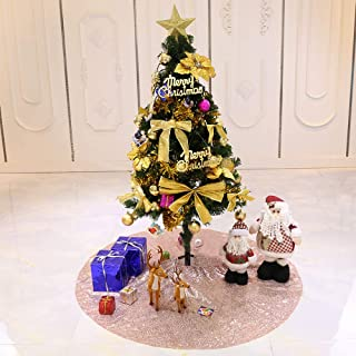 TRLYC Glittery Sequin Holiday Tree Skirt, 48-Inch Rose Gold Christmas Tree Skirt