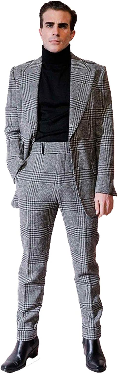 Men's Plaid Suit 2 Pieces Peaked Lapel Big Blazer Grey Checkered Single Breasted