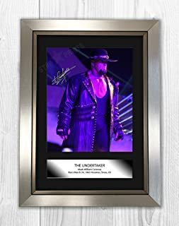 The Undertaker WWE Wrestler Signed Autograph Reproduction Photo A4 (Silver Frame)