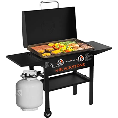 """Blackstone 1883 Gas Hood & Side Shelves Heavy Duty Flat Top Griddle Grill Station for Kitchen, Camping, Outdoor, Tailgating, Countertop, 28"""", Black"""