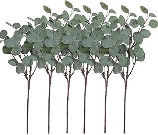 Pauwer 6 Pcs Artificial Silver Dollar Eucalyptus Leaves Spray Fake Greenery Stems Silk Eucalyptus Branch Plant for Home Party Wedding Decoration