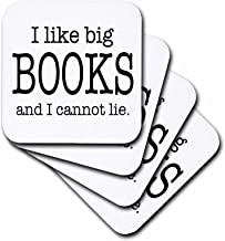 3dRose CST_112244_2 I Like Big Books and I Cannot Lie Novelist Humor Soft Coasters, Set of 8