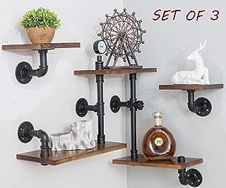 BIXIRAO Industrial Rustic Modern Wood Ladder Pipe Wall Mounted Shelf - Set of 3 Bookshelf,DIY Storage Shelving,Hung Bracket,Bookcase
