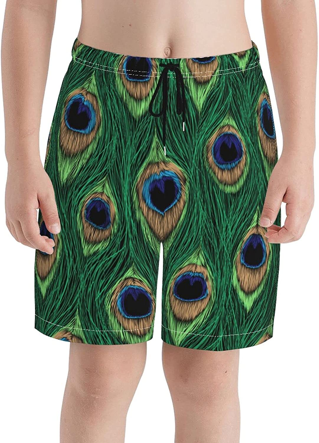 Fairy UMI Peacock Feather Boys Quick Dry Swim Trunks Youth Print Beach Surfing Board Shorts 7-20 Years
