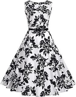 Floral Women Dress 50S 60S Dress A-Line Party with Belt Plus Size