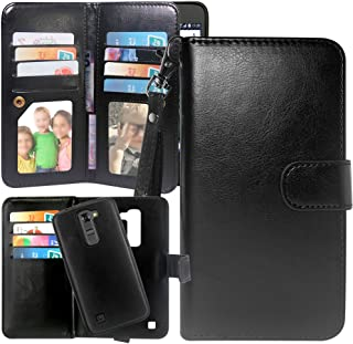 Harryshell LG K7 Case, LG Tribute 5 Case, LG Treasure Case, Luxury 12 Card Slots Shockproof PU Leather Wallet Flip Case with Wrist Strap Magnetic Back Cover for LG K8 / Escape 3 / Treasure/Phoenix 2