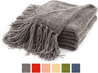 Freshmint Throw Blanket 60 x 50 Inch Luxury Fluffy Chenille Knitted Blankets with Decorative Fringe and Striped for Home Decor Couch Cover Sofa Bed Gift, Gray