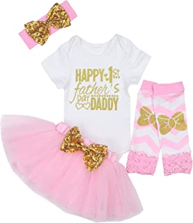 Happy 1st Fathers Day Baby Girl Outfit Letter Print Rompers+Tutu Dresses Shorts+Headband 4PCS Skirt Set