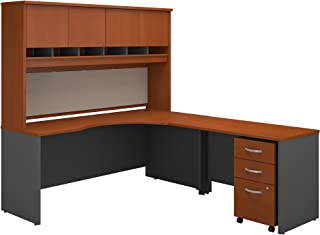 Bush Business Furniture Series C 72W Right Handed Corner Desk with Hutch and Mobile File Cabinet in Auburn Maple