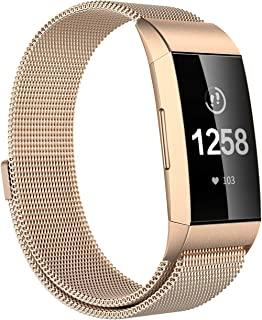 Meikeio Replacement Bands Compatible for Fitbit Charge 3, Charge 3 Stainless Steel Metal Bands