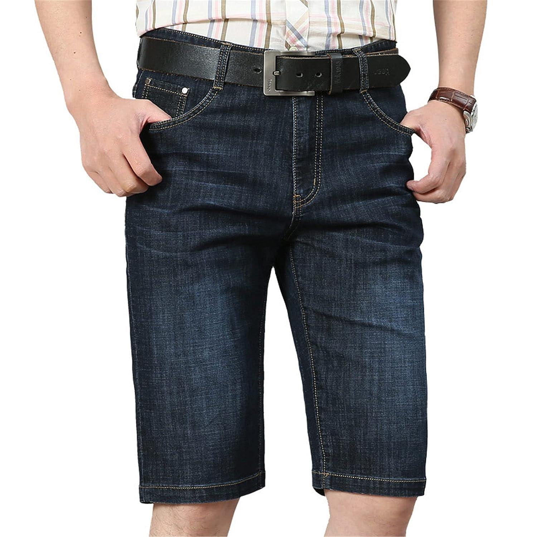 Slim Jean Shorts for Men, Men's Stretch Casual Denim Shorts Slim Fit Pant (35,Black)