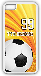 iPhone Tough Case Fits Models 8 or 7 Create Your Own Soccer SC1021 with Player Jersey Number and/Or Name Or Team Name Customizable by TYD Designs in Tough White