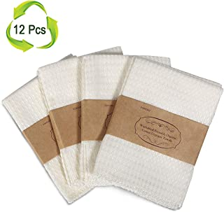 Bamboo Paper Towels Reusable Unpaper Towels 12 Packs, TOPOINT Natural Cotton Recycled Paper Towel Kitchen Cloth Napkins,Eco-Friendly